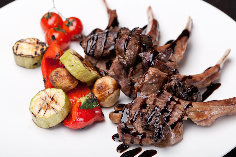 Roasted Lamb Chops on balsamic Sauce